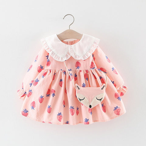 Baby Girl Strawberry Dress With Bag