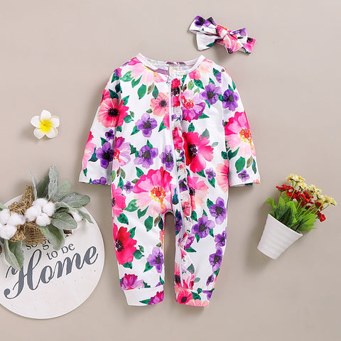 Baby Girl Floral Jumpsuit Romper with Headband