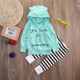 Baby Boy Girl Long Sleeve Hooded Top and Pants Set