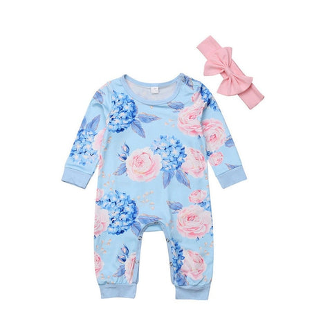 Baby Girl Blue Floral Romper Jumpsuit with Headband