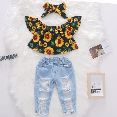 Floral Shirt, Jeans and a Headband Set