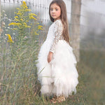 Girls Backless Lace and Ruffles Princess Dress