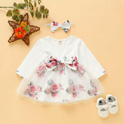 Newborn Baby Girl Long Sleeve Floral Dress with Hairband (Multiple Colors)