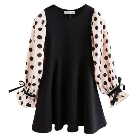 Long Flare Sleeves Polka Dot Dress with Bowknot