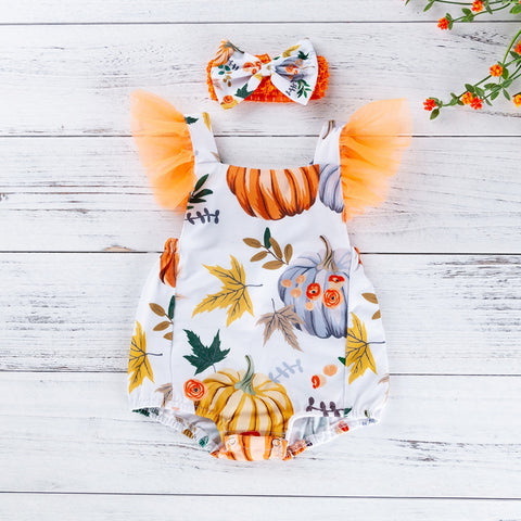 Baby Girl Halloween Pumpkin Rompers