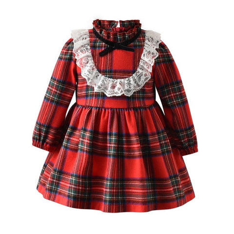 Baby Girl Long Sleeves Christmas Plaid Dress