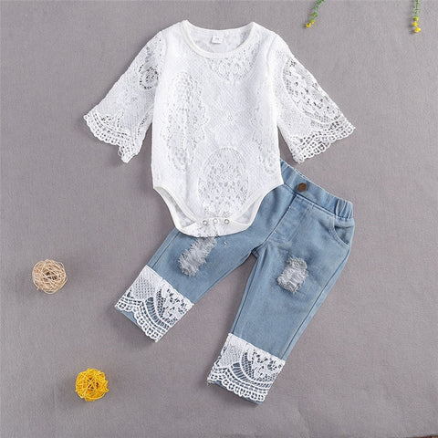 Baby Girl Lace Top and Jeans Outfit