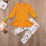 Toddler Girl Long Sleeves Dress and Floral Leggings Set