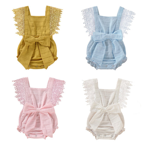 Baby Girl Solid Lace Bow Romper