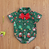 Infant Baby Boy Christmas Bodysuit Onesie with Bowtie