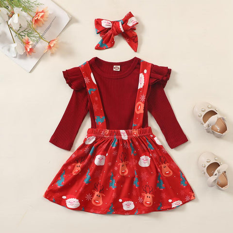 Toddler Girl Long Sleeve Ruffle Christmas Dress