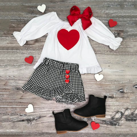 Baby Girl Red Heart Top with Plaid Skirt Set