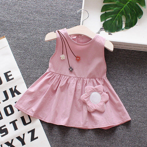 Baby Girl Pink Floral Sleeveless Dress