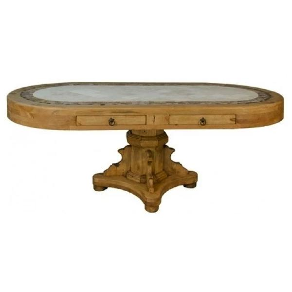 Travertine Oval Table