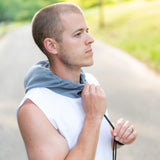 Sleeveless Dry Fit Shirt w/ Face Towel - White & Iron Gray
