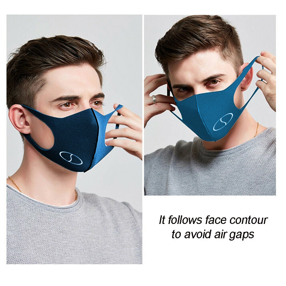 5 Reusable Ear Friendly, Non Fibrous, Easy Breathing Workout Face Mask - Navy Blue