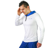 Men's Workout Shirt w/ Face Towel - White-Artic Blue