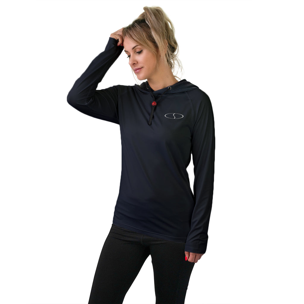 Women's Long Sleeve Workout Shirt w/ Face Towel - Black