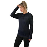 Women's Long Sleeve Workout Shirt w/ Face Towel - Black - COMING NOV. 2020