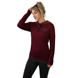 Women's Long Sleeve Workout Shirt w/ Face Towel - Red Wine - COMING NOV. 2020