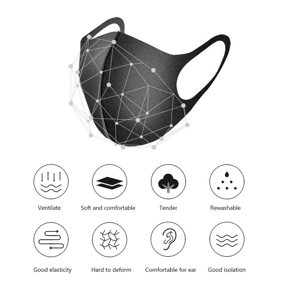 5 Reusable Ear Friendly, Non Fibrous, Easy Breathing Workout Face Mask - Black