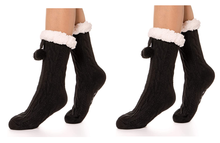 Load image into Gallery viewer, 2 Pairs Plush Cable Knit Slipper Socks