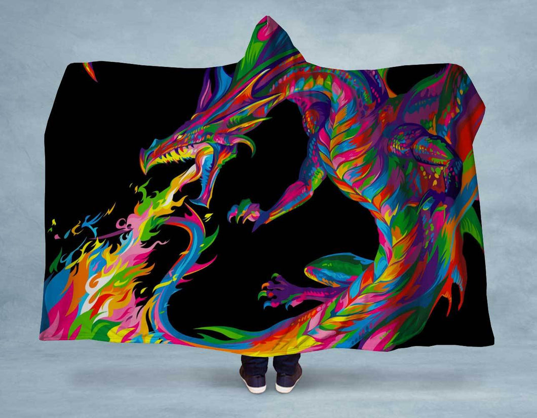 Neon Dragon Hooded Blanket