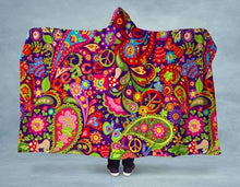 Load image into Gallery viewer, Paisley Peace NEON Hooded Blanket