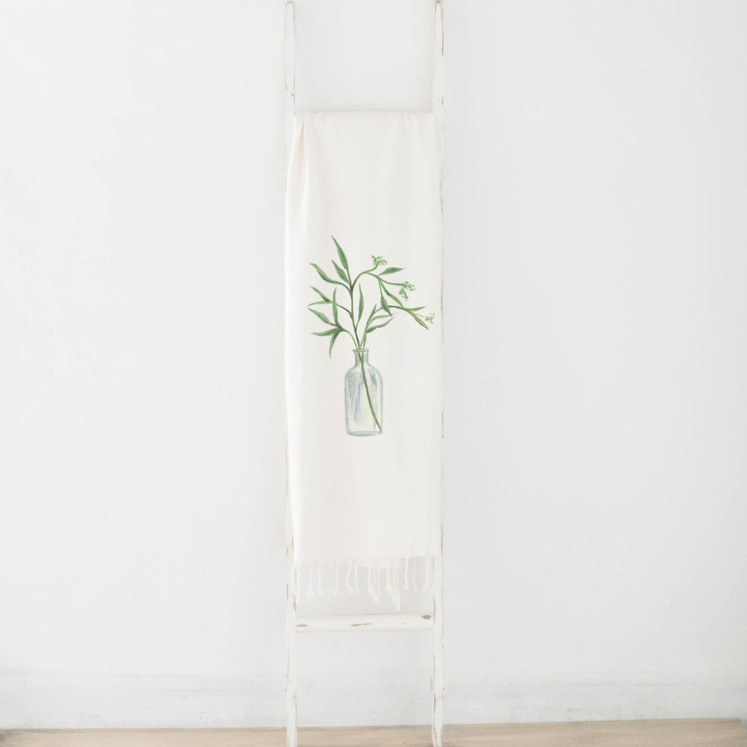 Eucalyptus Vase Watercolor Throw Blanket