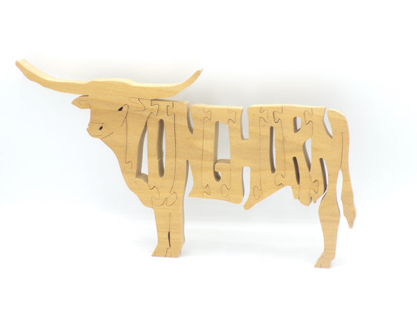 Wooden Longhorn Bull Jigsaw Puzzle | Hand Cut Puzzle | Animal Puzzle | Longhorn Bull Toy | Educational Puzzle | Kids Puzzle | Handmade