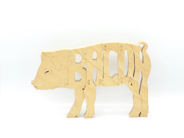 Wooden Pig (Bacon) Jigsaw Puzzle | Hand Cut Puzzle | Animal Puzzle | Pig Toys | Educational Puzzle | Kids Puzzle | Handmade Puzzle