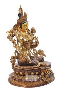 Gold Plated Green Tara Statue