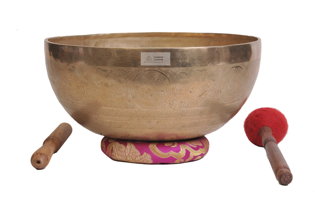 Singing Bowl carved with Yab Yum Buddha