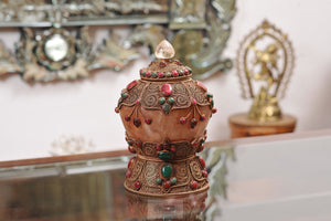 Filgiri Carved Pot with Ruby, Emerald and Quartz