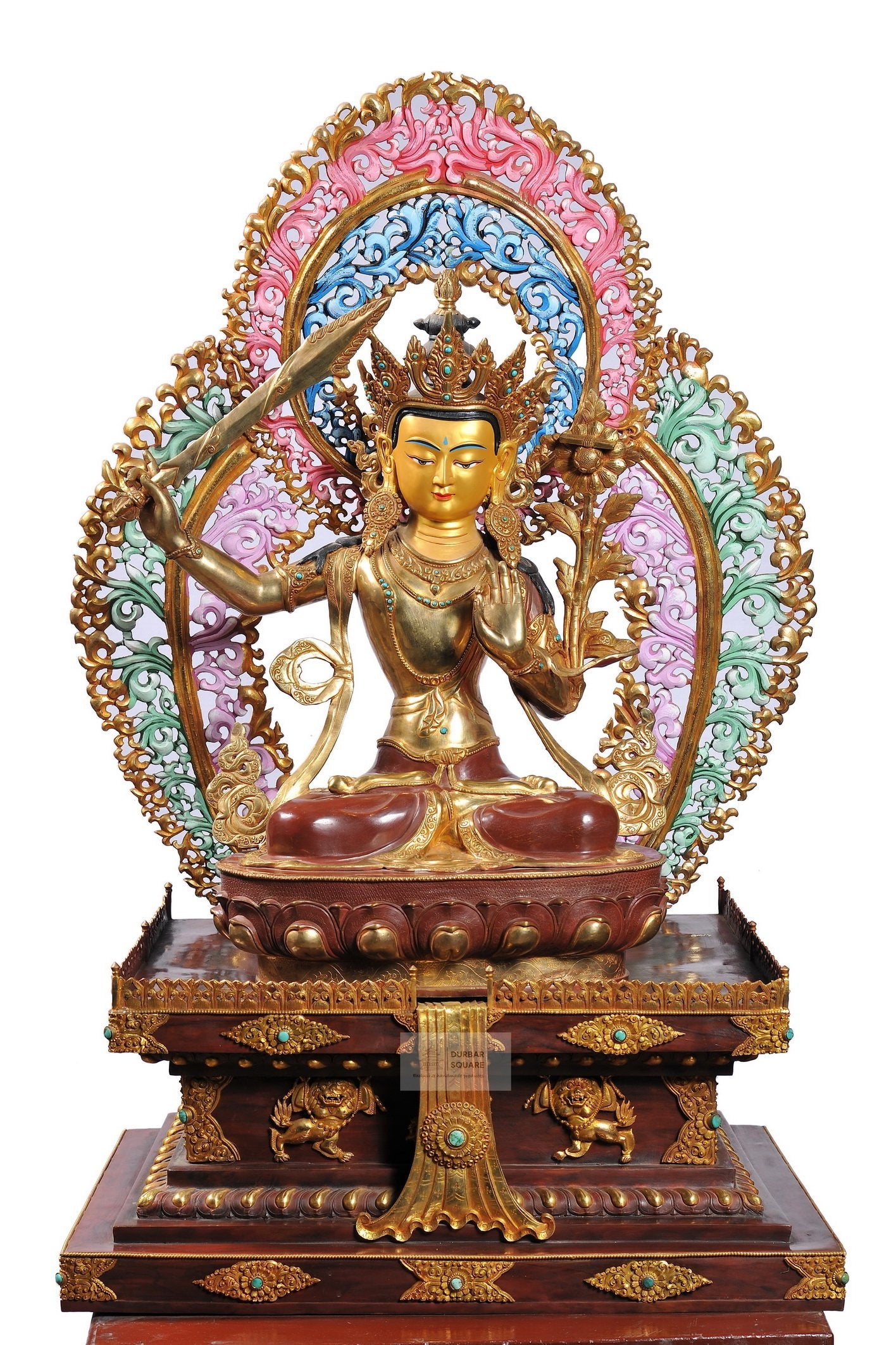 Gold plated Manjushree Statue (with Base)