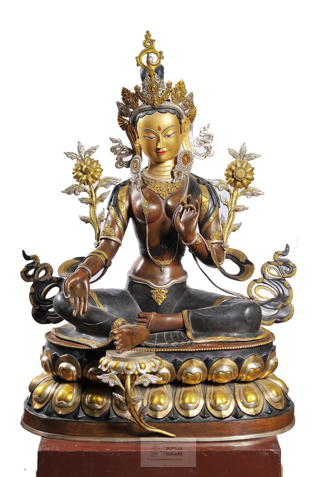 Gold and Silver plated Green Tara Statue