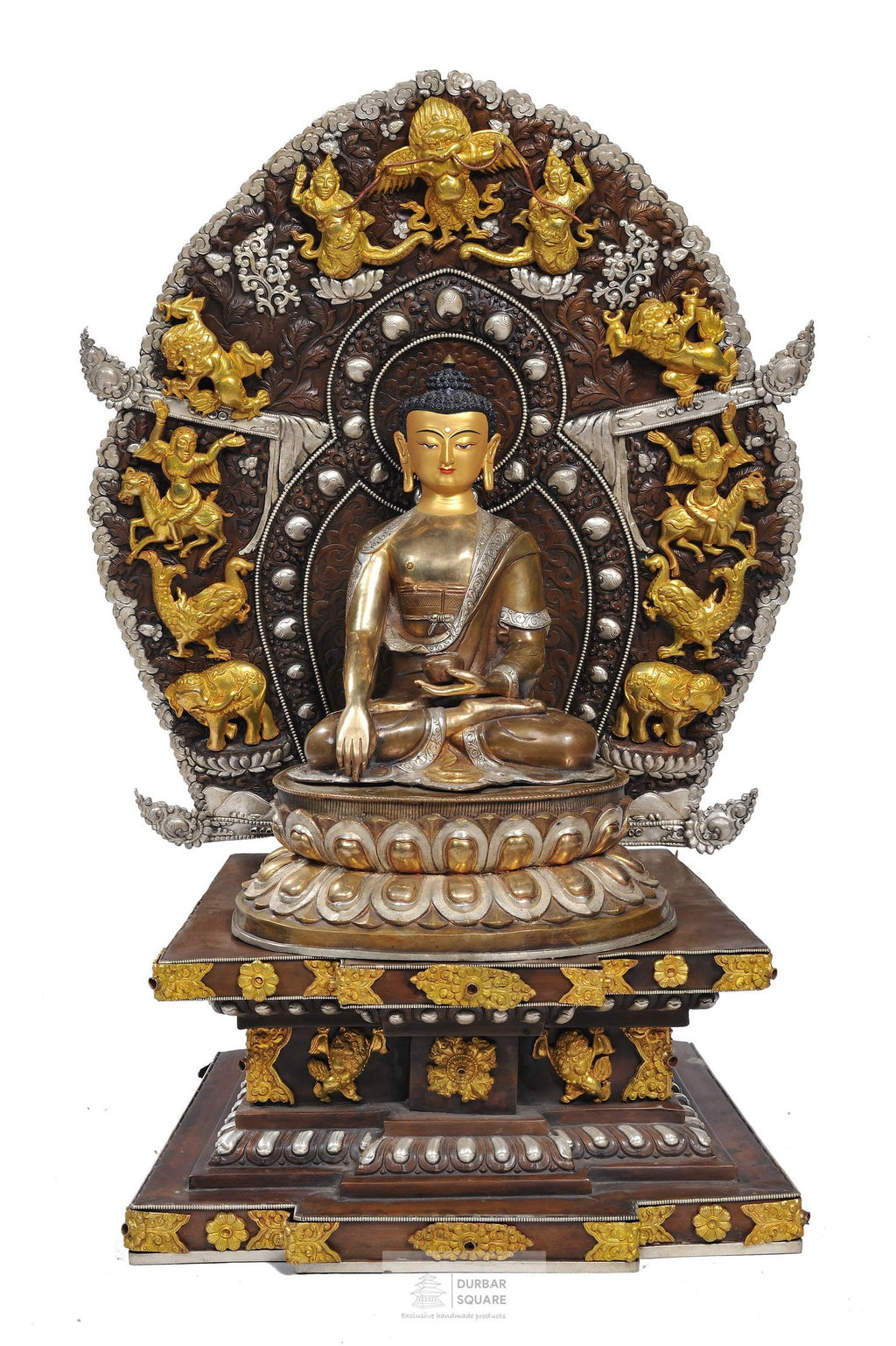 Gold plated Shakyamuni Buddha Statue with base