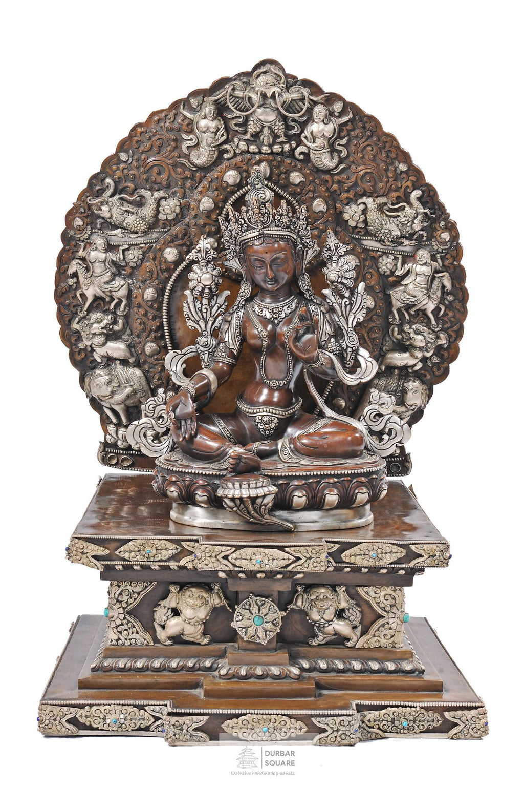 Silver & Copper Green Tara Statue with base