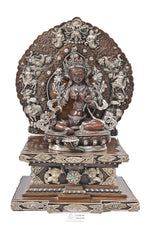 Load image into Gallery viewer, Silver & Copper Green Tara Statue with base