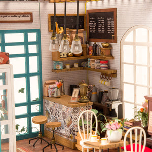 MiniVill 3D Wooden Miniature Coffee Shop DIY Model Dollhouse Craft Kit