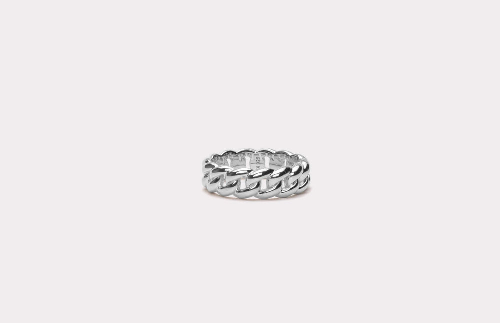IX Polished Curb Ring Silver