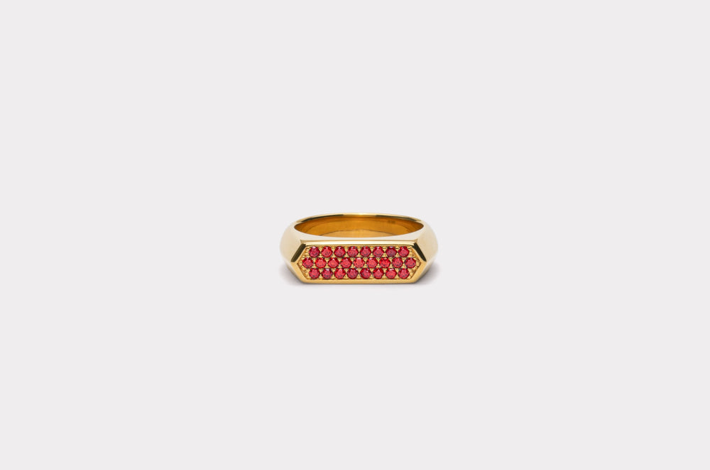 IX Mini Hexagon Ring Red