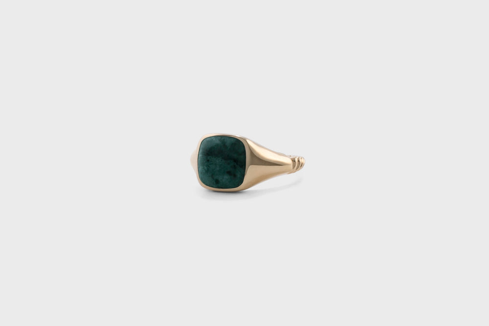 IX Ornate Signet Ring Green Marble