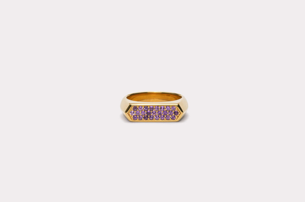 IX Mini Hexagon Ring Purple