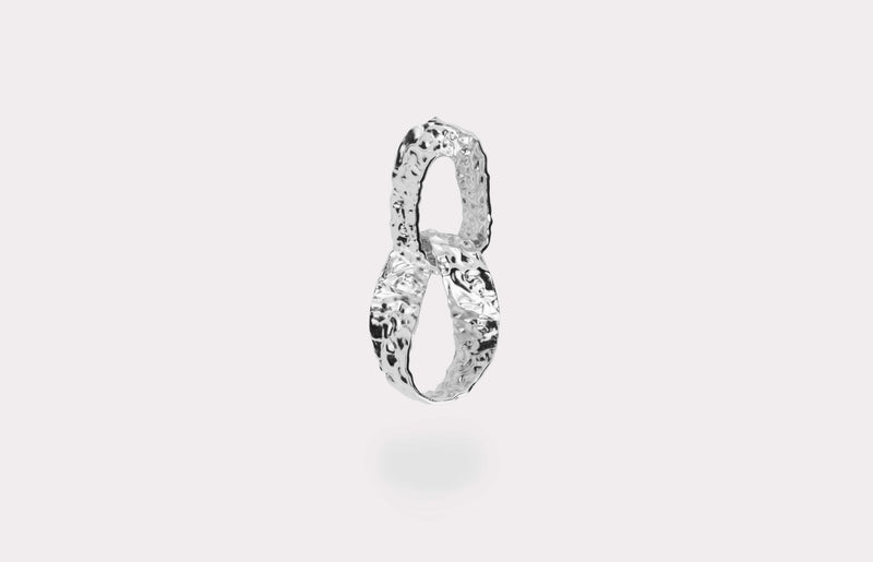 IX Crunchy Double Hoops Silver