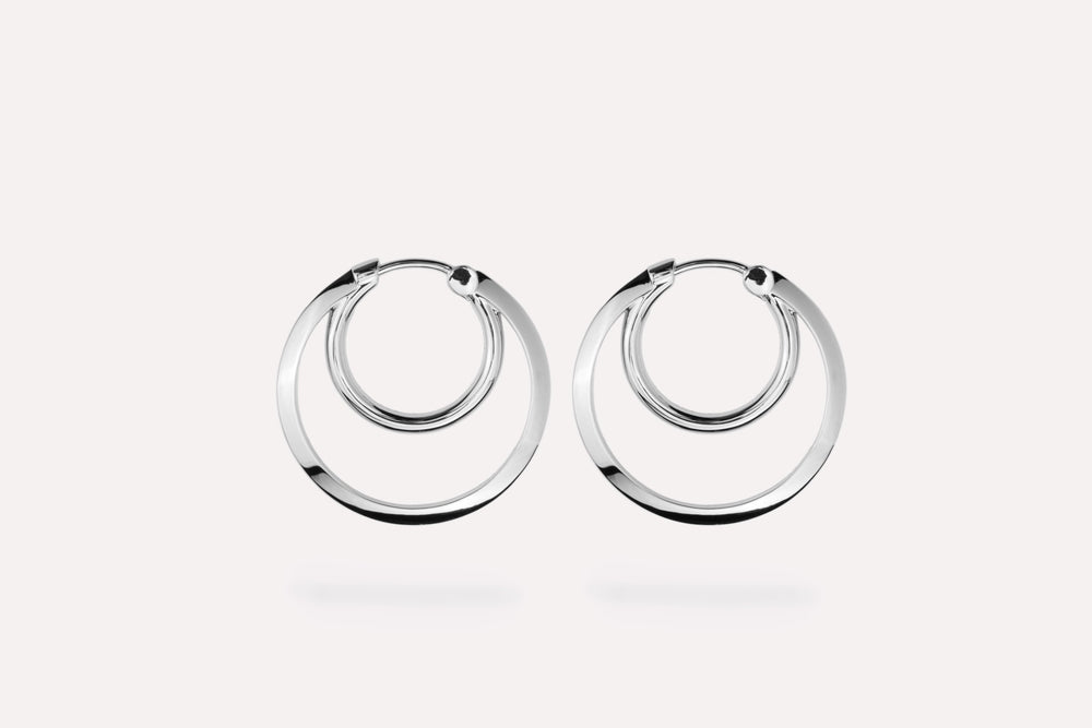 IX Double Hoops Silver