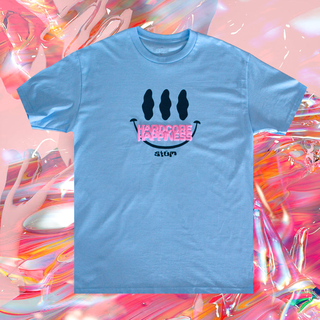 Hardcore Happiness Tee – Pale Blue