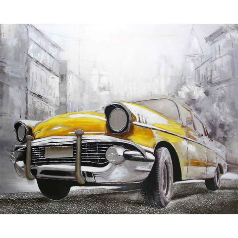 Yellow car in Grey Background Art - Featuring Pantone 2021 colour of the year