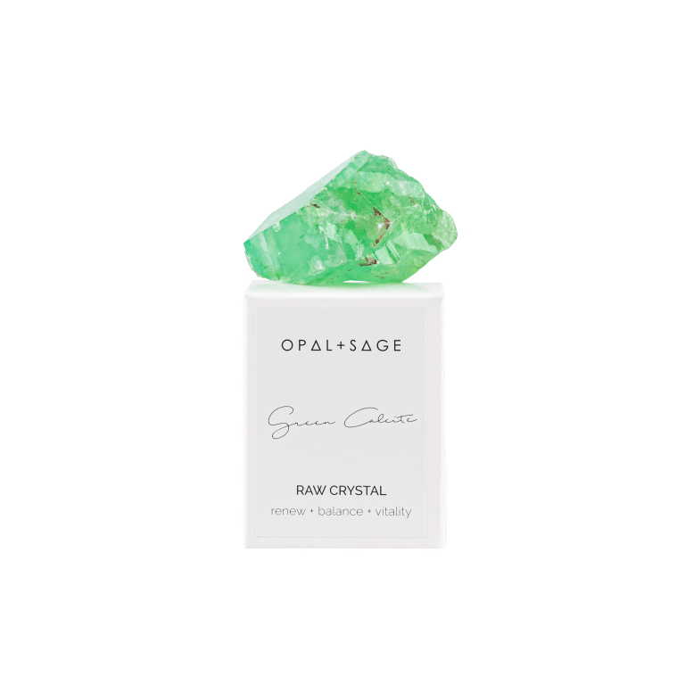 Opal + Sage Green Calcite - Raw Boxed Crystal
