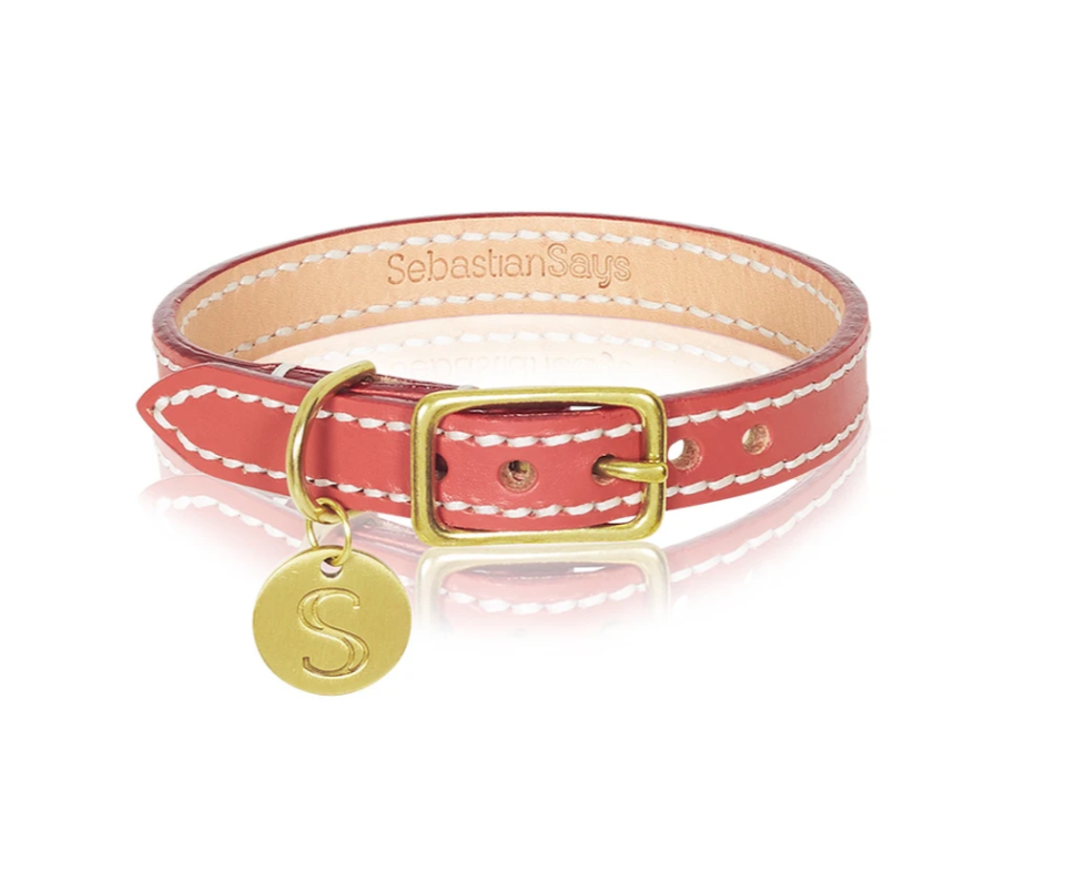 S/S Italian Leather Collar - Terracotta Red